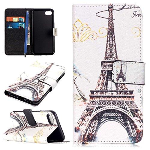 allet Case Folio Schutztasche für iPhone 7 Plus (5.5 Zoll) Tasche Hülle Handytasche Etui Schale Backcover Flip Cover im Bookstyle mit Standfunktion Kredit Kartenfächer (Eiffel Turm) (Eiffel Turm Schale)