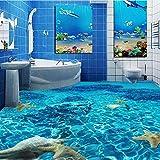 Yosot Benutzerdefinierte 3D Boden Wandbild Tapete Meerwasser Starfish Toiletten Bad Schlafzimmer 3D Pvc Bodenbelag Wasserdicht Selbstklebende Papier-250Cmx175Cm