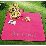 Picknickdecke    150x150cm    gerollt mit Tragegriff    Unterseite wasserabweisend    pink