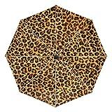 FAJRO- Paraguas de Viaje con patrón de Piel de Leopardo, Resistente al Viento, Paraguas automático para Lluvia al Aire Libre, para Mujeres/Hombres, Unisex Adulto, FJ-421, 1, Talla única