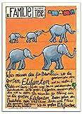 Kindergarten Kinder Poster mit Kinderlied und Elefanten für Kinderzimmer