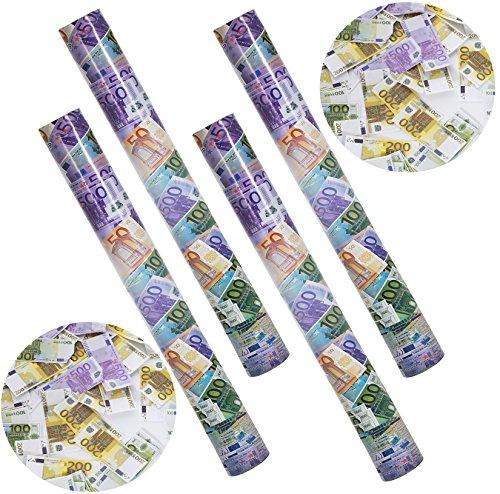 10 Geldregen Konfetti Kanone Geldscheine 40cm I Extra Laut I Party Popper Euro I Konfetti Shooter Geld für Hochzeit & Geburtstag