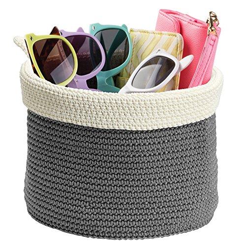 mDesign Cesta organizadora (mediana) – Caja de tela redonda de polipropileno resistente – Cesta para armario o estantería en gris y color crema