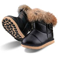 Baby Girls Soft Leather Booties Winter Snow Boots Waterproof for Toddler Girls Pink White Rose Gold Brown