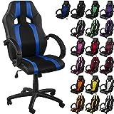 Maxstore RACEMASTER® Racing Bürostuhl GS Series Stripes Gaming Chair Gamer Stuhl in 20 Varianten Drehstuhl Gaslift SGS Geprüft Schreibtischstuhl Wippmechanik Blau