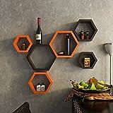 #9: DecorNation Hexagon Wall Shelf, Set of 6 (Orange and Brown)