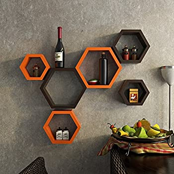 DecorNation Hexagon Wall Shelf, Set of 6 (Orange and Brown)