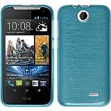 PhoneNatic Case für HTC Desire 310 Hülle Silikon blau, brushed + 2 Schutzfolien