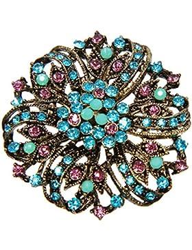 Elegante wunderschöne Vintage Strass Kristall Brosche Anstecknadel Türkis Pink