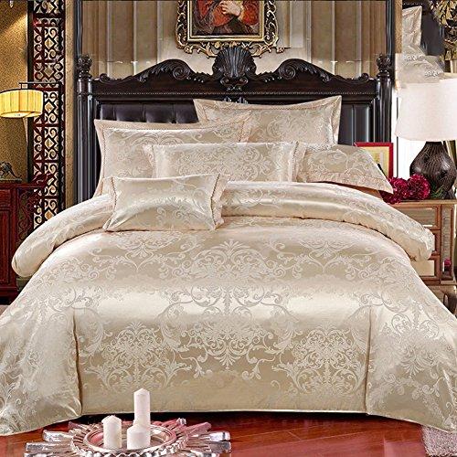 GX&XD Europäischer stil Jacquard Baumwolle Bettbezug Mit seidig weich,Weich atmungsaktiv Bettwäscheset Reißverschluss Tröster cover gedruckt-E 220x240cm(87x94inch) (Jacquard-gewebe Baumwolle)