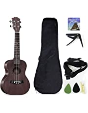 musoo Soprano Ukulele Solid Top Mahogany 21 Inch with Accessories with Gig Bag, Strap, Nylon String, Guitar Trigger Capo, Picks