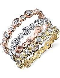 Ultimate Metals Co.® Damen 3 Sterling Silber 925 Ewigkeit Ring in Roségold,Gold und Silber mit zirkonia CZ,Bequemlichkeit Passen