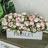 Flinfeays Kunstblumen Holzzaun Gefälschte Blume Kreative Outdoor DIY Hochzeit Partei Küche Fensterbrett Dekoration Holz Topf Blumenarrangement Rosa-15