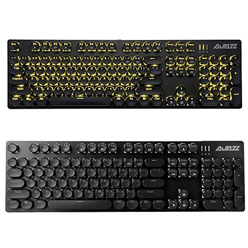 2018neuesten Schreibmaschine USB Retro Mechanische Gaming Tastatur mit LED-Hintergrundbeleuchtung rund Tastatur Vintage Tastatur Black Swith