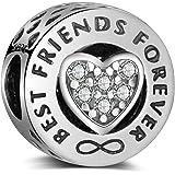 LaMenars Charme Breloque en argent sterling 925 Femme Ami Charms et Perles avec Cœur « Best Friends Forever » pour Pandora Ch