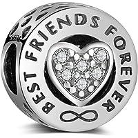 LaMenars Charme Breloque en argent sterling 925 Femme Ami Charms et Perles avec Cœur « Best Friends Forever » pour…