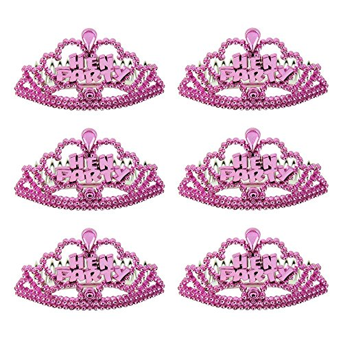 6 Stück kleine Pinke Tiara Haarschmuck Kamm Aufschrift HEN PARTY Accessoire Junggesellenabschied Junggesellinnenabschied JGA Bridal Shower - Der Kleine Tiara Kamm