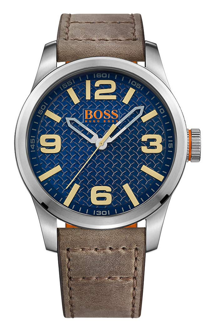 Hugo Boss Orange Paris Men's Quartz Analogue Classic Brown Leather Strap 1513352