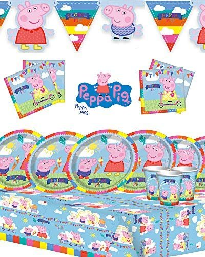 Peppa Pig Children's Birthday Party Kit for 8,16,24,32 featuring new style banner! (Party for 16)