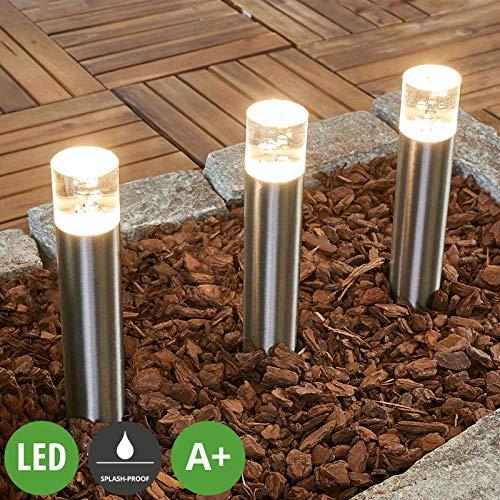 Lampenwelt 3er Set LED Erdspießleuchte 'Lisou' (spritzwassergeschützt) (Modern) in Alu aus Edelstahl (3 flammig, A+, inkl. Leuchtmittel) - Außenleuchte