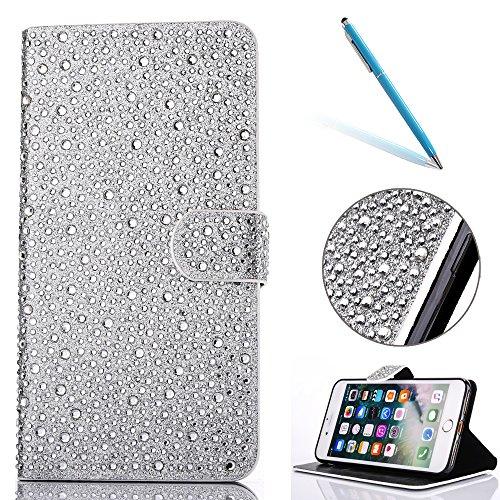 """iPhone 7 Lederhülle, 3D Bling Glitzer Strass CLTPY iPhone 7 Flip Stand Bookstyle Wallet Handytasche mit [Ständer Standfunktion] & [Magnetverschluss] für 4.7"""" Apple iPhone 7 + 1 x Stylus - Rosa A Silber D"""