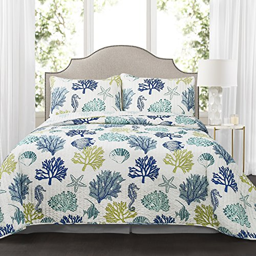 Coastal Reef Quilt Navy/Blue 3Pc King Reef Quilt