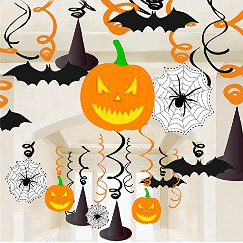 Zantec 30pcs PVC Halloween hängende Fahnen gewundene hängende Kürbis Spinnen Netz Fledermaus Partei (Perücke Handwerk Hexe)