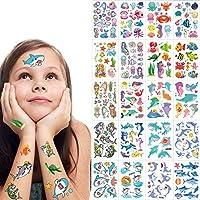 SZSMART Temporary Tattoos for Kids, Fake Mermaid Tattoos Shark Sticker For Children Girls Birthday Party Decorations Supplies Favors