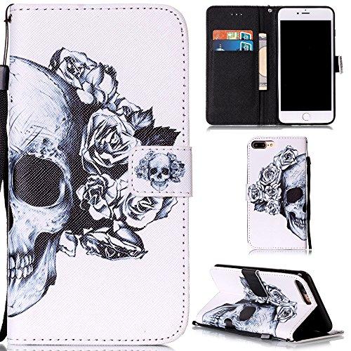 """Ooboom® iPhone 7 4.7"""" Coque PU Cuir Flip Housse Étui Cover Case Wallet Stand avec Carte de Crédit Fentes Dragonne - Have a nice day Crâne"""