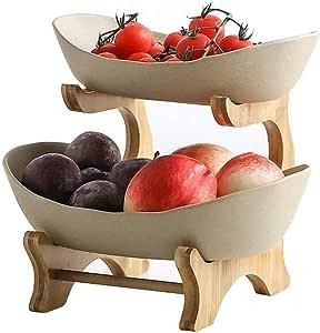 PetKids grande cestino per frutta e verdura Cestino per frutta a 3 strati in metallo cromato e ceramica per cucina e tavolo