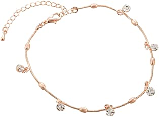 Aaishwarya Rose Gold Crystal Chain Anklet(Single) For Women