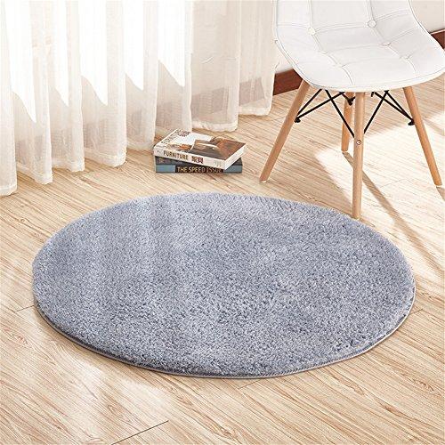 Ommda Teppiche Schurwolle Wohnzimmer Flauschig Modern Outdoor Teppiche Rund Rutschfest Anti Rutsch Grau 100cm -