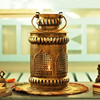 Sadhubela's Jaisalmer Mehrab Art Burni Diya Lantern - Handcrafted Antique Golden Polished Iron Burni Lantern with Brass Diya - 18cm x 18cm x 31cm