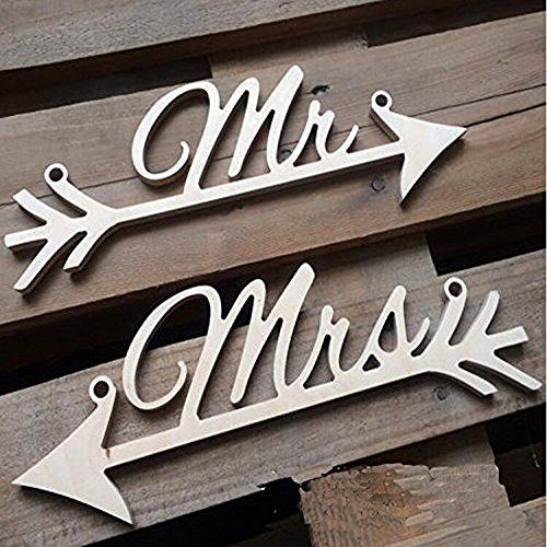 Maxs Mr and Mrs freccia con sposa & sposo sedia Sign rustico
