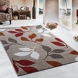 PHC Webteppich Muster Floral Beige Terrakotta Rottöne, Grösse:160x230 cm