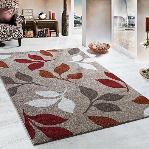 Heavy Woven Rug Floral Design In Beige Terracotta Red Tones Top Quality, Size:160x230 cm