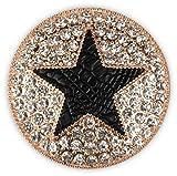 styleBREAKER runder Magnet Schmuck Anhänger für Schals, Tücher oder Ponchos, mit schwarzem Stern und Strass, Damen 05050030, Farbe:Rosegold