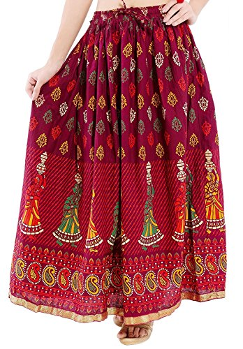 Kurti Studio Women Maroon Premium Long Skirt  available at amazon for Rs.499