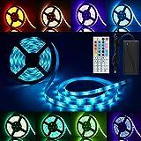 LED Streifen RGB 5M, Anten LED Lichtleiste 150 LED Strip Lichtband IP65 Wasserdicht mit 44 Tasten Fernbedienung 12V Netzteil 5050 für Deko Bar Party Schlafzimmer Wandschrank Balkon