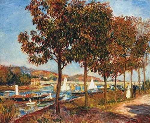 Pierre Auguste Renoir Brücke (Kunstdruck/Poster: Pierre Auguste Renoir Herbst an der Brücke von Argenteuil - hochwertiger Druck, Bild, Kunstposter, 80x65 cm)