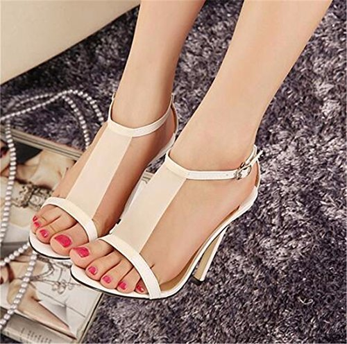 QIYUN.Z Sexy Femmes Elegantes Ouvertes Stilettos Orteils D'Ete Chaud Sexy Chaussures Talons Hauts Sandales Blanc