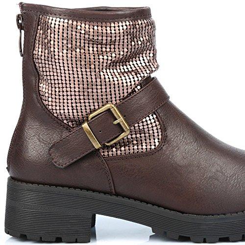 Com Sapatos Ideais Marrom Garine botas Paddock Lantejoulas HrIqH