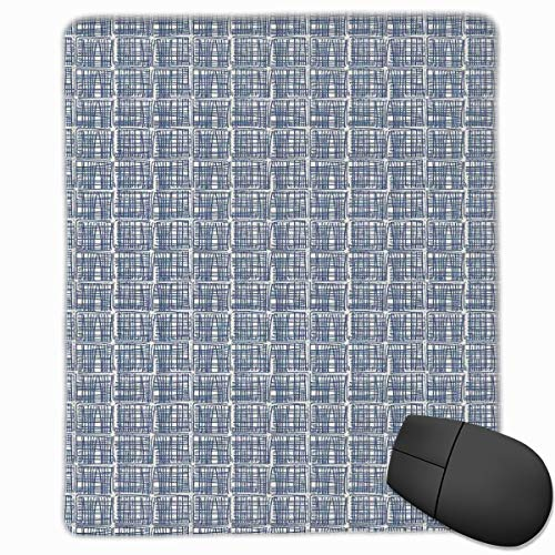 Mouse Mat Stitched Edges, Squares With Stripes In Hand Drawn Style Hippie Geometrical Grid Tile,Gaming Mouse Pad Non-Slip Rubber Base - Ultra White Tile