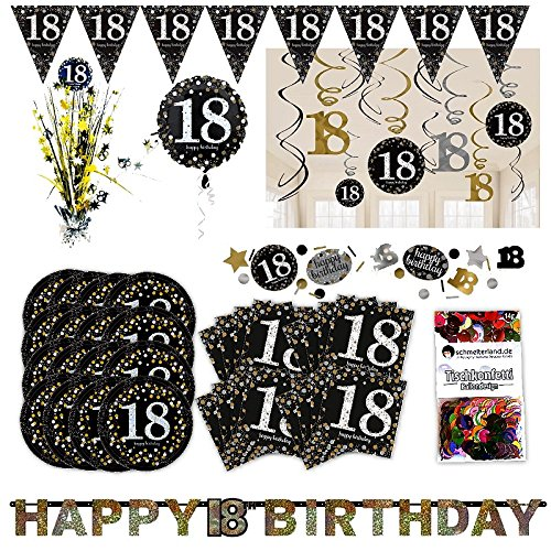 Amscan 18. Geburtstag Glitter Party Set XL 50-teilig 16 Gäste Glitzer Deko Partypaket