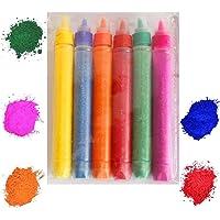 CraftVatika Set of 10 Rangoli Colour Powder Tube Kit Diwali Decoration Items Bottles Tool Floor Art Rang for Home…