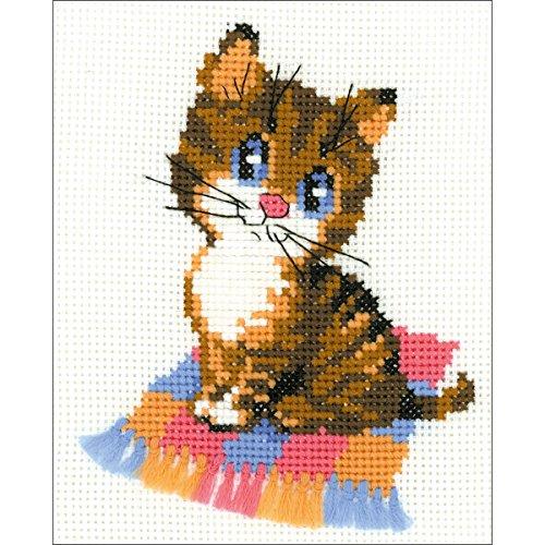 Riolis HB068 Kreuzstich-Set Kätzchen, Baumwolle, Mehrfarbig, 15 x 18 x 0.1 cm
