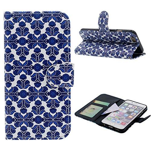 Flip Portafoglio Borsa Carta Titolare iPhone 6 Plus Custodia 5.5 Case, Bellissimo Paisley Fiore Modello Elegante Signora Ragazza Stile, Multi Function PU Pelle iPhone 6S Plus Cover Blu