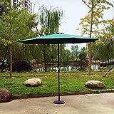 Kurbel Sonnenschirm Gartenschirm Terrasse Sonnenschutz Kurbelschirm Ø2,7m H2,5m, Gestell Aluminium/Stahl, ohne Schirmständer, ca. 5.2kg (Dunkelgrün)