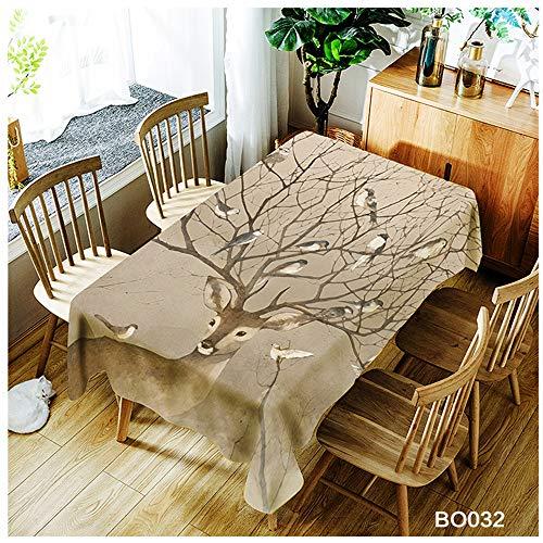 QWEASDZX Einfache und Moderne Tischdecke Polyester Nationaler Stil Anti-Staub Antifouling Rechteckige Tischdecke Geeignet für drinnen und draußen Wiederverwendbare Picknicktischdecke 150x260cm -