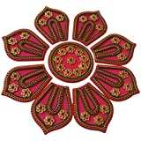 Anaya Industries Acrylic Handicraft Rangoli (28 Cm X 1 Cm X 28 Cm, Pink, Set Of 9)